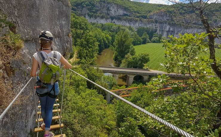 Camping Le Rêve - Via ferrata - Kalpaca à Conduché © Lot Tourisme - A. Leconte