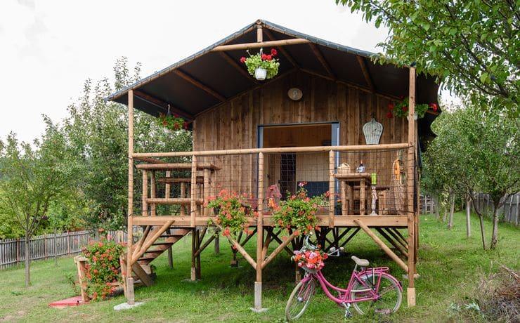 Location cabane - Camping Le Rêve - Cabane sur pilotis (cabane non définitive)