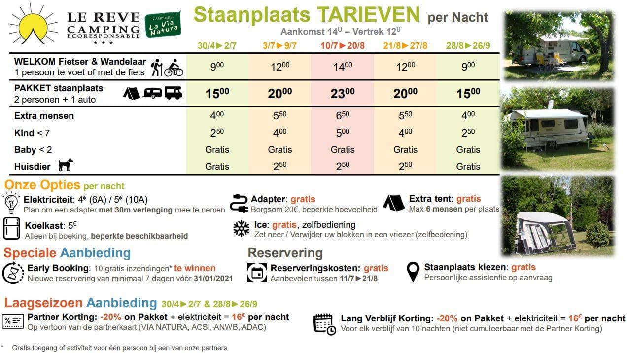 Prijzen van onze standplaatsen